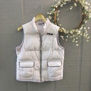 Fila Sport White puffer vest. Size Large.